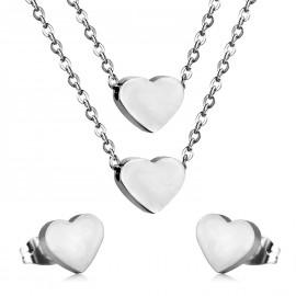 Set šperků z chirurgické oceli srdíčka