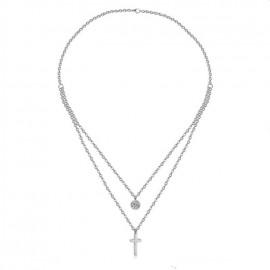 Dvojitý ocelový náhrdelník s přívěšky křížek a kolečko se zirkonem