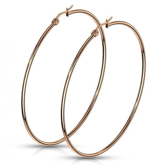 Zlacené ocelové náušnice - kruhy 70 mm