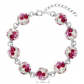 Stříbrný náramek se Swarovski krystaly mix barev 33048.3 sweet love