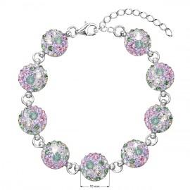 Stříbrný náramek se Swarovski krystaly mix barev 33048.3 sakura