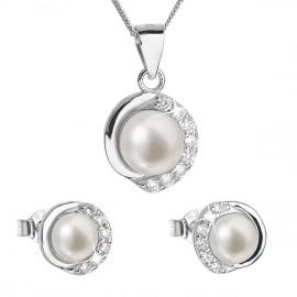 Perlová souprava z říčních perel bílá 29022.1