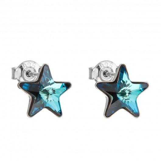 Stříbrné náušnice hvězdy s kameny Crystals from Swarovski® Bermuda Blue