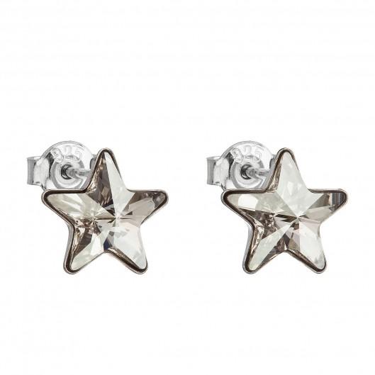 Stříbrné náušnice hvězdy s kameny Crystals from Swarovski® Silver Shade