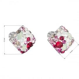Stříbrné náušnice pecka s krystaly Swarovski mix barev kosočtverec 31169.3 sweet love