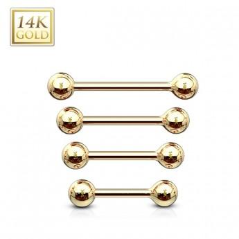 Zlatý piercing do jazyka, tyčka 1,2 mm - Au 585/1000