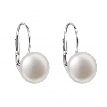 Stříbrné náušnice visací s bílou říční perlou Stříbrné šperky 5450ccce8d3