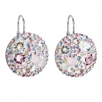 Stříbrné náušnice visací s krystaly Swarovski růžové kulaté 31161.3
