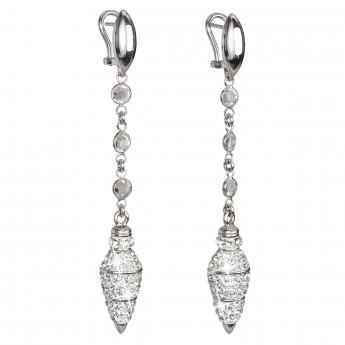 Stříbrné náušnice visací s krystaly bílé 31811.1
