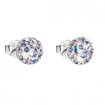 Stříbrné náušnice pecka s krystaly Swarovski fialové kulaté 31136.3