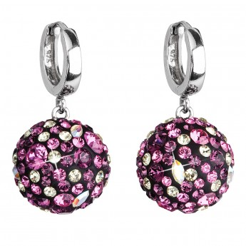 Stříbrné náušnice visací s krystaly Swarovski fialové kulaté 31116.3