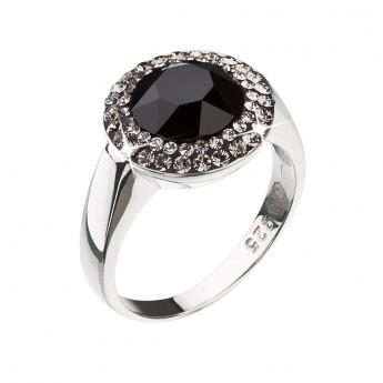 Stříbrný prsten s krystaly černý 35025.3