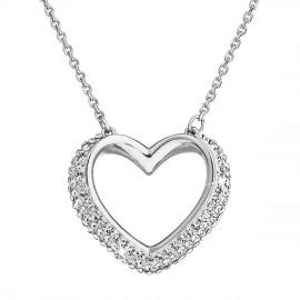 Stříbrný náhrdelník s krystaly Swarovski bílé srdce 32027.1