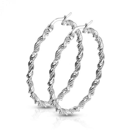 Kroucené ocelové náušnice kruhy