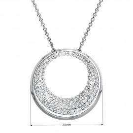 Stříbrný náhrdelník s krystaly Swarovski bílý 32026.1