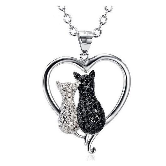Stříbrný náhrdelník srdce a dvě kočky
