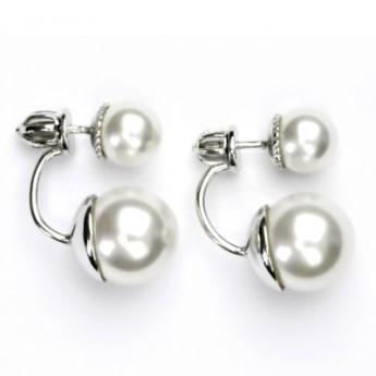 Stříbrné zanáušnice se syntetickými perlami