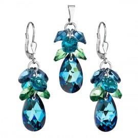 Sada šperků s krystaly Swarovski náušnice a přívěsek modrý hrozen 39123.5