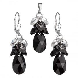 Sada šperků s krystaly Swarovski náušnice a přívěsek černý hrozen 39123.3