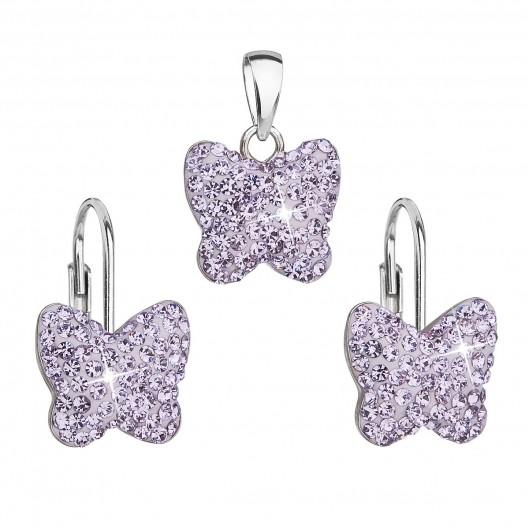 Sada šperků s krystaly Swarovski náušnice a přívěsek fialový motýl 39144.3