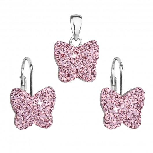 Sada šperků s krystaly Swarovski náušnice a přívěsek růžový motýl 39144.3
