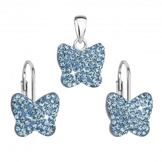 Sada šperků s krystaly Swarovski náušnice a přívěsek modrý motýl 39144.3