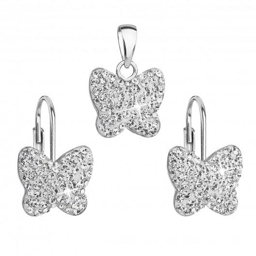 Sada šperků s krystaly Swarovski náušnice a přívěsek bílý motýl 39144.1