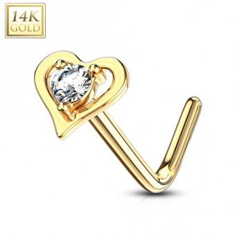 ddf34dd66 Zlatý piercing do nosu srdíčko - čirý zirkon, Au 585/1000 Piercing ...