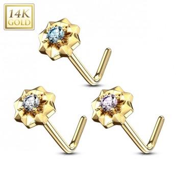 Zlatý piercing do nosu kytička, Au 585/1000