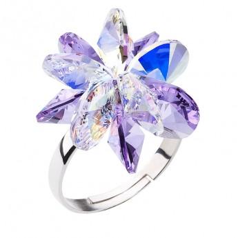 Stříbrný prsten s krystaly Swarovski fialová kytička 35024.3 violet