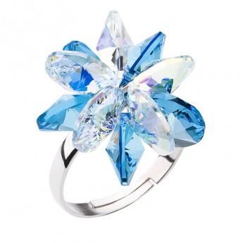 Stříbrný prsten s krystaly Swarovski modrá kytička 35024.3