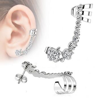 Ocelová náušnice s klipem a čirými zirkony, levé ucho