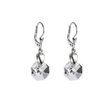 Stříbrné náušnice visací s krystaly Swarovski Crystal