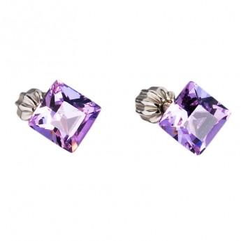 Stříbrné náušnice Crystals from Swarovski® Violet