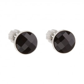 Stříbrné šroubovací náušnice s Crystals from Swarovski® Black Jet