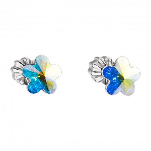 Stříbrné náušnice kytičky Crystals from Swarovski® AB