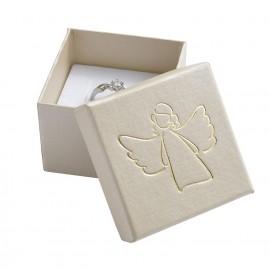 Krémová dárková krabička, zlatý anděl