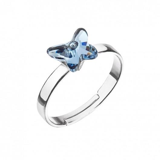 70304459e Stříbrný prsten s motýlem Swarovski , Denim Blue