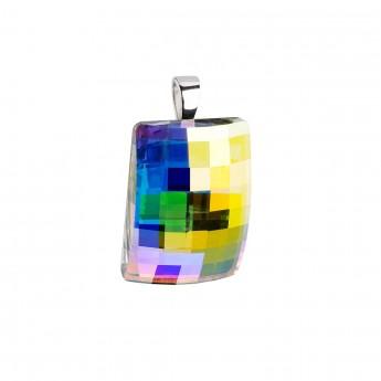e725b3dc5 Stříbrný přívěsek s krystaly ab efekt obdélník Stříbrné přívěšky