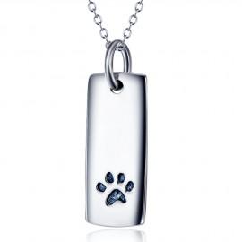 Stříbrný náhrdelník destička s tlapkou
