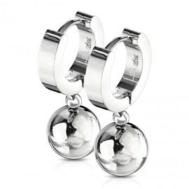 Ocelové náušnice - kroužky s kuličkami
