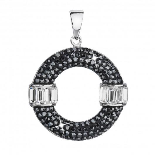 Stříbrný přívěsek s krystaly Swarovski černý kulatý 34187.5