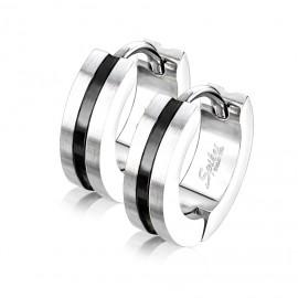 Ocelové náušnice kruhy, barva černá
