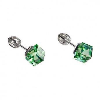 Stříbrné náušnice kostky Crystals from Swarovski® Peridot