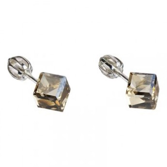 Stříbrné náušnice kostky Crystals from Swarovski® Gold Shadow