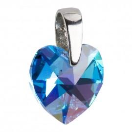 Stříbrný přívěšek srdce Crystals from Swarovski® Blue
