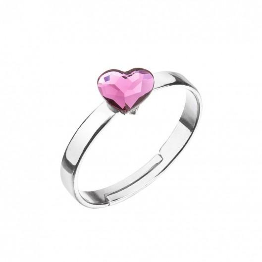 Stříbrný prsten s krystaly Swarovski ružové srdce