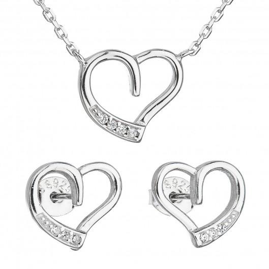 2e73f5959 Sada šperků se zirkonem náušnice a náhrdelník bílé srdce 19009.1