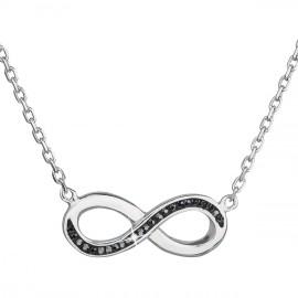 Stříbrný náhrdelník s krystaly Swarovski černé infinity,osmička-nekonečno 32023.5