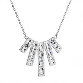 Stříbrný náhrdelník s krystaly Swarovski bílý obdélník 32024.1